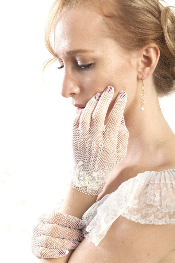 White gloves - bridal gloves with vintage beaded lace