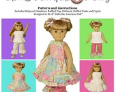 "Girl Doll PDF Sewing Pattern - Easy with Mix and Match Options for 18"" dolls - by Scientific Seamstress"