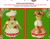 "Girl and Baby Doll PDF Sewing Pattern - Easy Mix and Match Options for 18 and 15"" dolls - Holiday Baking Chef - by Scientific Seamstress"