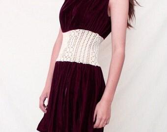 Grape Purple Velvet and Crochet Mini Dress - Vintage 1960s  S