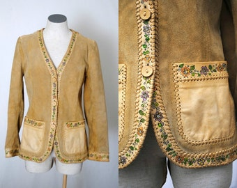 CHAR Handpainted Suede Jacket - 1960s - Hippie Chic  - Leather - Collectible - Signed