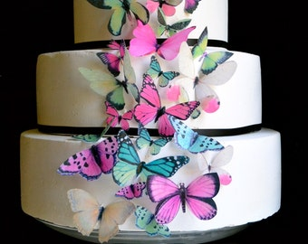 Wedding Cake Topper Wedding Cake Topper EDIBLE BUTTERFLIES - Assorted Pink and Green set of 30 - Cake & Cupcake Decor- Food Accessories