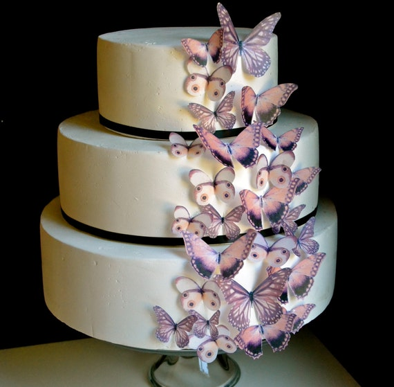 Wedding Cake Topper EDIBLE Butterflies The Original - Brown Earth Tones set of 30 - Cake & Cupcake toppers - PRECUT and Ready to Use