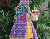 Balthasar Wise Man Magi Cross Stitched and Beaded Holiday Christmas Tree Ornament - Free U.S. Shipping