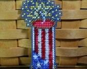 Firecracker Beaded Cross Stitch Ornament, Pin, or Magnet - Free U.S. Shipping