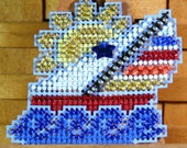 Sail Away Beaded Cross Stitch Ornament, Pin, or Magnet - Free U.S. Shipping