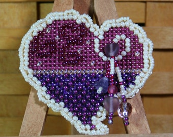 Treasured Heart Beaded Cross Stitch Ornament, Pin, or Magnet - Free Shipping
