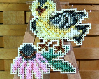 Goldie Finch Beaded Cross Stitch Ornament, Pin, or Magnet - Free U.S. Shipping