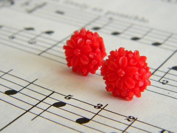 Lauren in cherry red. bright red floral cluster post earrings