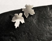 Little Leaf Earrings - Handmade Small Silver Stud Earrings
