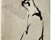"""Original art print """"Scent"""". Sugar lift aquatint. 11x7.5 cm"""