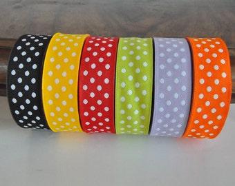 Reversible  Polka Dot Jacquard Ribbon  1 roll - 10 meters