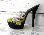 Floozy. reclaimed black stiletto heel succulent planter