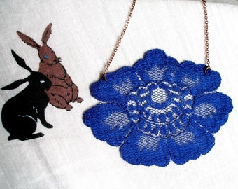 Big blue bloom vintage lace necklace