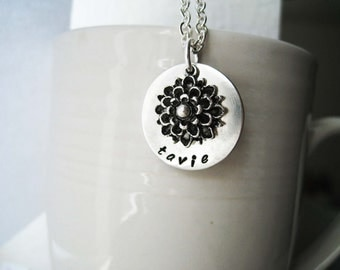 Sterling Silver Mother's Necklace - Gold FIlled Chrysanthemum Customized Name Necklace