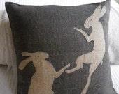 hand printed tumbling hares cushion cover