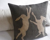 hand printed greys rustic boxing hares cushion cover