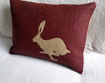 burgundy logo hare cushion