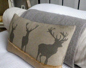 hand printed triple stags cushion cover