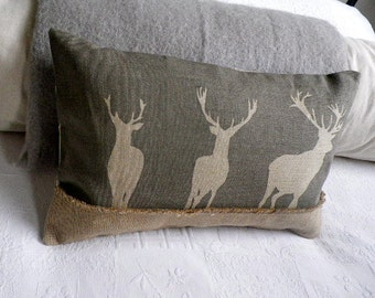hand printed triple greys  stag cushion cover