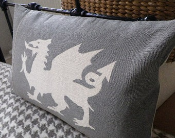 hand printed muted greys dragon cushion cover