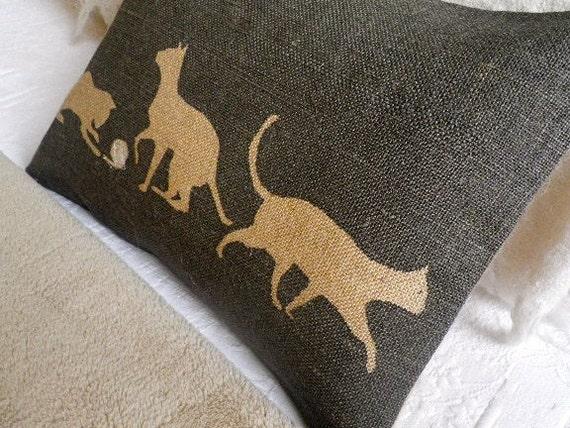 hand printed charcoal cats cushion