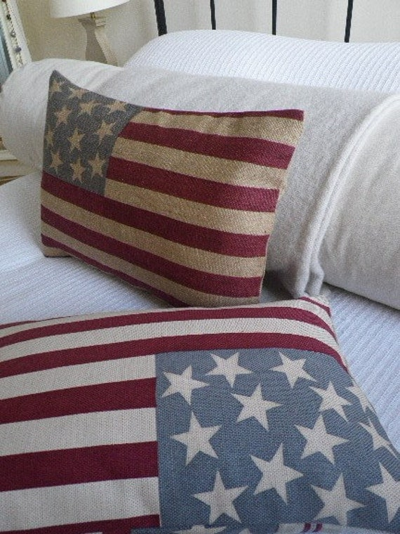 Stars and stripes hessian flag cushion cover