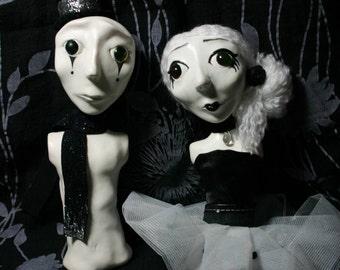 Lucio and Liz - Ooak Art doll busts
