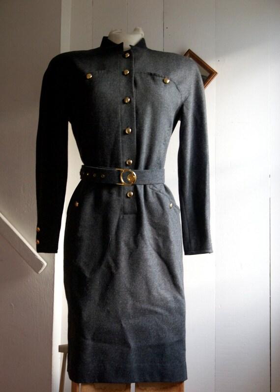 charcoal wool military dress L