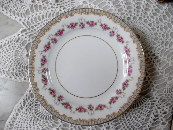 Set of 5 Vintage Noritake Salad Plates, Blue, Gold, Pink Flowers, Gilt, Ridgewood