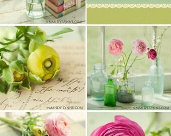 Spring flora- (set of five 5x5 prints)