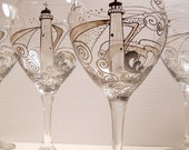 Lighthouse Goblet Hand Painted Pewter Glassware Wine Glasses MADE To ORDER