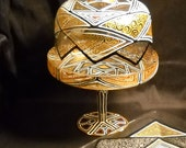 Footed Cake Dome Dessert Stand Hand Painted Geometric Design