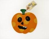 Big Polka dotted Pumpkin Magnet - Big Art Magnet Polka dotted Pumpkin - Halloween Jack O Lantern Refrigerator Magnet
