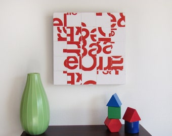Typography Collage Wall Hanging - Modern Home Art - Type Face Collage Wall Art - Small Works of ART