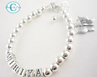 Butterfly name bracelet/sterling charm for girls, Girl Bracelet Baptism Bracelet Girl Gift Christening Bracelet  Baby Flower Bracelet custom