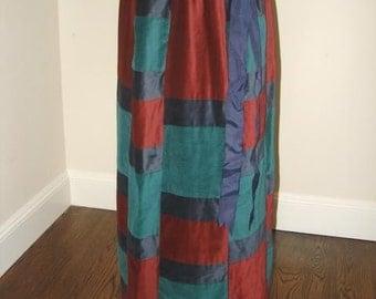 Velvet Patchwork skirt Mr Hank long formal preppy big bow