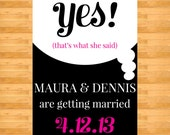 """Yes that's what she said Save the Date Postcard - """"That's What She Said"""" Save the date"""