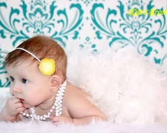 Yellow Skinny Headband Flower Infant Baby Bow