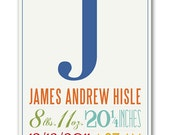 Made To Order CUSTOM  Baby Birth Nursery graphic art Text Giclee Print 8x10 inches Free Shipping