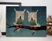 Starry Night Owls  Forest Woodland Owl Illustration on gallery wrapped Canvas 9x12x1.5 Signed