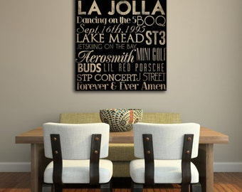 Custom - MADE To ORDER Typographic Wall Art Gallery Wrapped Canvas SIGNED 20x30x1.5 inches