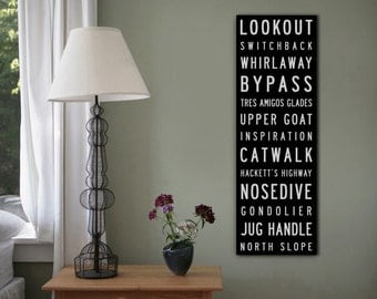 Choose Your Own Words - Custom Vintage Style Bus Scroll Ski Snowboard Wall Art  READY TO HANG