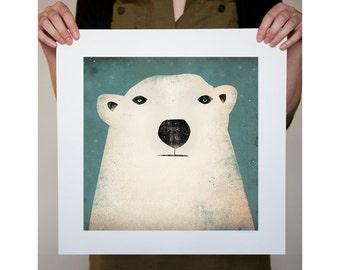 Polar Bear GRAPHIC ART Illustration print SIGNED Nursery