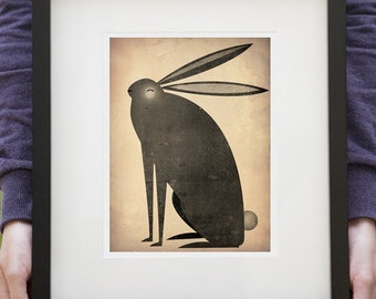 The BLACK RABBIT 7x9 Framed graphic art giclee print 13.5 x 15.5 signed