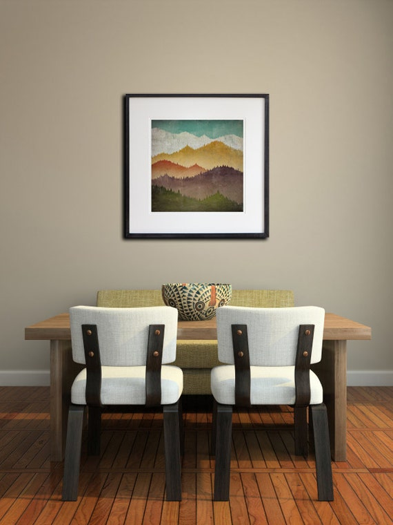 MOUNTAIN VIEW Smoky Mountains Green Mountains Framed Giclee Print SIGNED 20x20x1 frame 12x12 and 14x14 Print Size