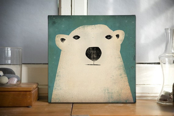 POLAR BEAR Potrait Graphic Wall Art Gallery Wrapped Canvas Panel signed Ready to Hang