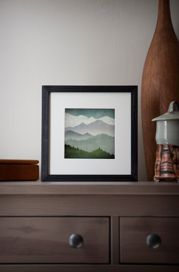 FIRST SNOW Smoky Mountains Green Mountains Framed Giclee Print 10x10 inches SIGNED