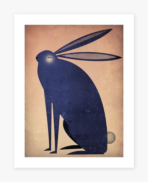 The INDIGO RABBIT Graphic Art Illustration archival pigment print Signed