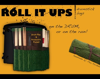 Custom Roll It Ups Drumstick Bag:Band Percussion Gift for Drummers MADE TO ORDER